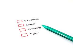 Quality survey form with pen showing marketing Stock Images