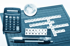 Quality surveying. Concept with key words on board game Royalty Free Stock Photography