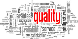 QUALITY Tag Cloud. (reliability customer service satisfaction marketing royalty free illustration