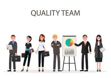 Quality Team of Managers with Diagrams on Placard. Quality team of best managers with diagram and chart on placard on white background vector illustration flat Stock Photo