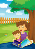 Quality time. Illustration of a mother reading to her daughter in the park Royalty Free Stock Photography