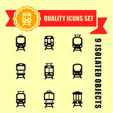 Quality trains icon set Royalty Free Stock Images