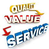 Quality value service. Words on white background, concept of great product or service attractions royalty free illustration