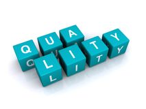 Quality Word on Cubes. The word QUALITY spelled out letter by letter on blue 3D cubes Royalty Free Stock Image