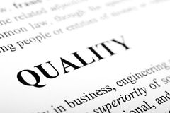 Quality. The word quality shot with artistic selective focus Stock Photography
