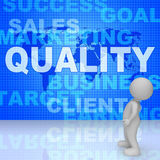 Quality Words Shows Guarantee Check And Approve 3d Rendering. Quality Words Representing Perfect Certified And Approved 3d Rendering Royalty Free Stock Images