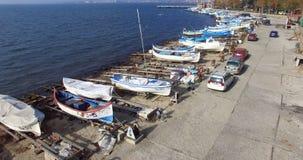 Quand beaucoup de pêcheurs sont allés à la mer, la Bulgarie, Pomorie Photographie stock libre de droits