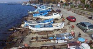 Quand les pêcheurs sont déjà allés à la mer dans le Pomorie bulgare Image stock
