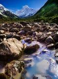 Quand un DIEU joue avec des couleurs, voie de vallée de talonneur, Aoraki, cuisinier de bâti, Nouvelle-Zélande Photo libre de droits
