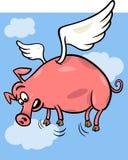 Quando os porcos voarem a ilustração dos desenhos animados Imagem de Stock