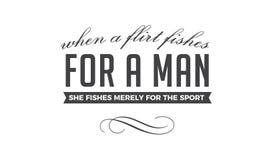 Quando un flirt pesca per un uomo, pesca soltanto per lo sport illustrazione vettoriale