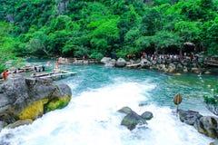 Quang Binh, Vietnam - July 13, 2018: Nuoc Mooc spring - Mooc stream Phong Nha Ke Bang national park. Quang Binh, Vietnam - July 13, 2018: Nuoc Mooc spring stock photography