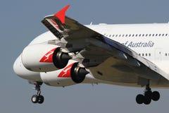 Quantas A380. Frankfurt/Germany july 4, 2012: Airbus A380 from Quantas at Frankfurt Airport Stock Photo