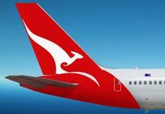 Quantas, logo australiano di linea aerea sull'aereo Fotografie Stock Libere da Diritti