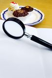 Quante calorie? Concetto di nutrizione Info Fotografie Stock Libere da Diritti
