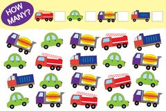 Quanti oggetti di trasporto Gioco educativo per i bambini illustrazione di stock