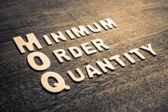 Quantité d'ordre minimum MOQ image libre de droits
