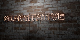 QUANTITATIVE - Glowing Neon Sign on stonework wall - 3D rendered royalty free stock illustration Stock Images