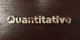 Quantitative - grungy wooden headline on Maple  - 3D rendered royalty free stock image Royalty Free Stock Photos