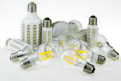 Quantity E27 LED bulbs with different sizes and type of chips, a Stock Photography