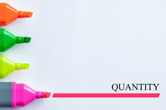 Quantity. Multicolor of highlight pen with a word of quantity Stock Photo