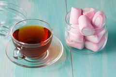 Quantity of pink marshmallows in jar Royalty Free Stock Photo