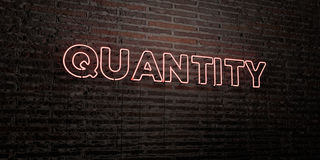 QUANTITY -Realistic Neon Sign on Brick Wall background - 3D rendered royalty free stock image. Can be used for online banner ads and direct mailers Royalty Free Stock Photography