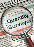 Quantity Surveyor Job Vacancy. 3D. Newspaper with Jobs Quantity Surveyor. Quantity Surveyor - CloseUp View of Jobs Section Vacancy in Newspaper with Magnifier Royalty Free Stock Photo