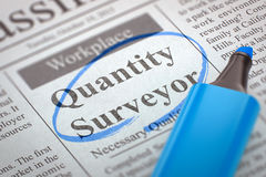 Quantity Surveyor Wanted. 3D. A Newspaper Column in the Classifieds with the Small Advertising of Quantity Surveyor, Circled with a Blue Marker. Blurred Image Royalty Free Stock Photo