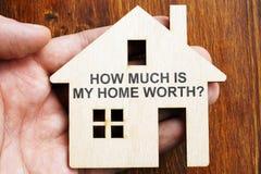 Quanto é meu valor da casa? Sinal no modelo da casa fotografia de stock royalty free