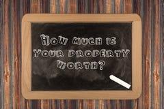 Quanto é seu valor da propriedade? - quadro imagem de stock