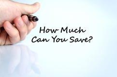 Quanto pode você salvar o conceito do texto imagem de stock