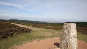 Quantock Hills Somerset England and trig point stock video