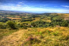 Quantock Hills Somerset view in colourful HDR towards Bristol Channel Stock Images