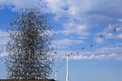 Quantum Cloud Sculpture and the Thames Cable Car in London Royalty Free Stock Photo