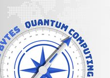 Quantum computing concept with compass pointing towards text royalty free illustration