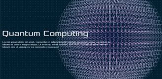 Quantum computing, deep learning artificial intelligence, signal cryptography vector illustration