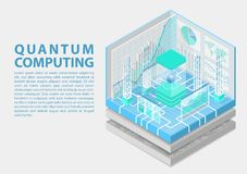 Quantum computing isometric vector illustration. 3D view on conceptual quantum computer vector illustration