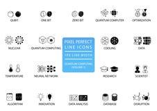 Quantum computing vector icon set optimized for web use stock illustration