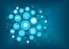 Quantum computing vector illustration as example for digital innovation. Icons arranged as light bulb.  stock illustration