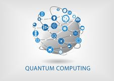 Quantum computing vector illustration with connected world. royalty free illustration