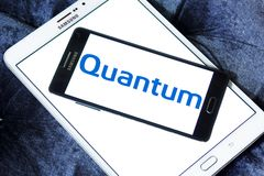 Quantum Corporation logo. Logo of Quantum Corporation on samsung mobile. Quantum Corporation is a manufacturer of data storage devices and systems, including Stock Images