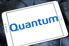 Quantum Corporation logo. Logo of Quantum Corporation on samsung tablet . Quantum Corporation is a manufacturer of data storage devices and systems, including stock image