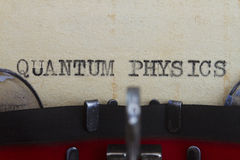 Quantum physics. Type writen in a vintage paper Royalty Free Stock Photos
