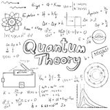 Quantum theory law and physics mathematical formula equation, do. Odle handwriting icon in white  background paper with handdrawn model, create by vector Royalty Free Stock Photography