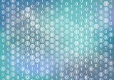 Quantums-Datenverarbeitung oder Digital-Analog-Wandlung Vektorhintergrund, der Stückchen und Hexagonformen anzeigt vektor abbildung