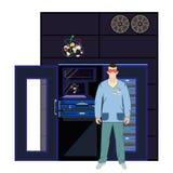 Quantums- und Computertechnikkonzept vector flache Illustration Lizenzfreie Stockfotografie