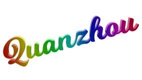 Quanzhou-Stadt-Name kalligraphisches 3D machte Text-Illustration gefärbt mit RGB-Regenbogen-Steigung Stockbilder