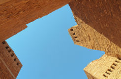 Quarai ruins. Orange stone spanish mission and dwellings ruins at Quarai in Salinas Pueblo Missions National Monument Stock Images