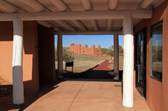 Quarai Ruins Visitors Center. Quarai Ruins at Salinas National Monument in the State of New Mexico Stock Photo